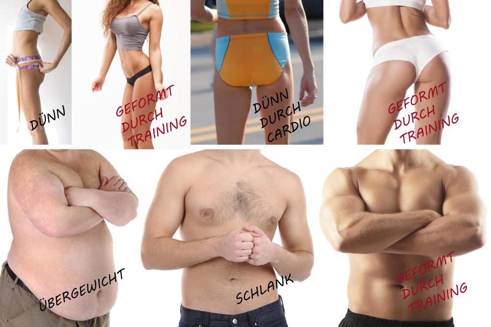 Vergleich dünn, dick oder geformt